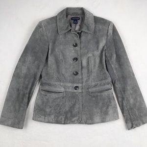 Ann Taylor Gray 100% Leather Jacket - Size Medium